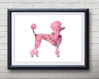 Pink Poodle Dog Print - Home Living - Animal Painting -  Poodle Dog Animal Art - Wall Decor - Home Decor, House Warming Gifts