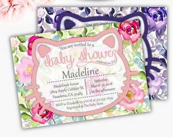 Floral Kitty Baby Shower Invitation, Girl Baby Shower Invitation, Floral Baby Shower, Cat Invitation, Hello Baby Girl, DIGITAL FILE Q7