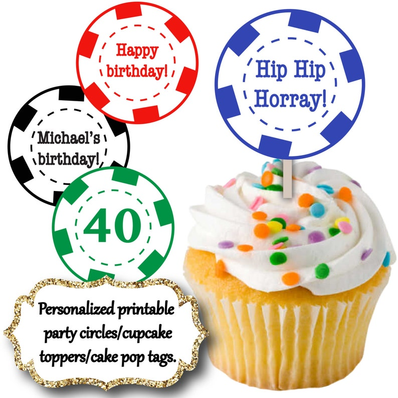 Magnificent Poker Chip Cupcake Toppers Guys Birthday Cake Pop Tags Etsy Funny Birthday Cards Online Alyptdamsfinfo