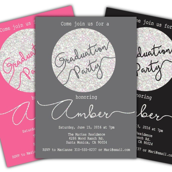 simple graduation party invitation pink graduation ceremony etsy