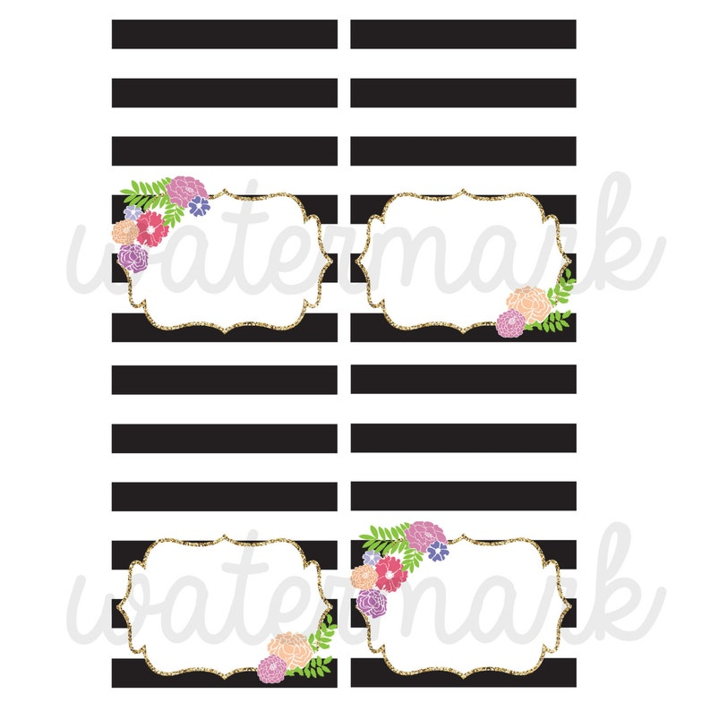 Printable Dessert Table Cards Instant Download F1 Black and White Striped Food Tents Printable Floral Food Labels Gold Glitter Food Tents