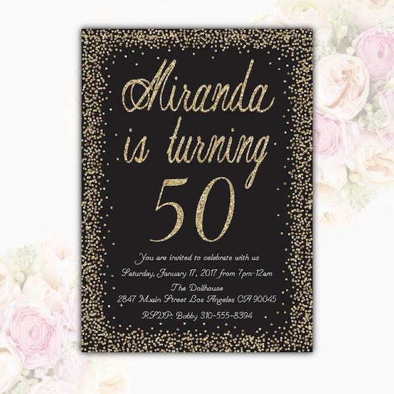 Black Gold Glitter Birthday Party Invitation 50th