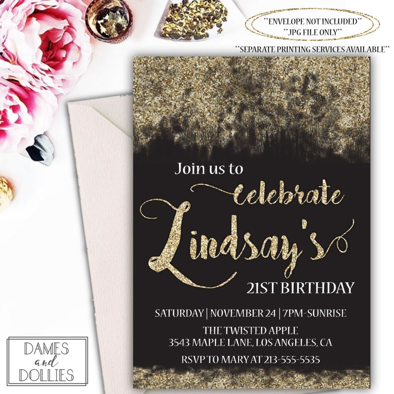 Black And Gold Glitter Birthday Party Invitation Printable