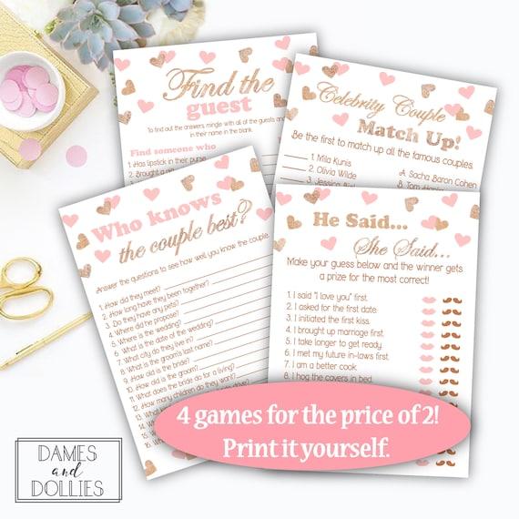 Bridal Shower Games Pack Of 4 Pink Rose Gold Bridal Shower Etsy