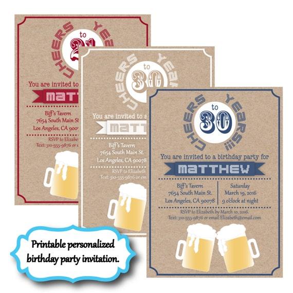 Guy Birthday Party Invitation Man Birthday Party Invite Beer Etsy