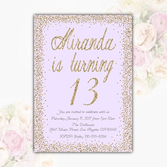 Lavender Gold Glitter Birthday Party Invitation Teen