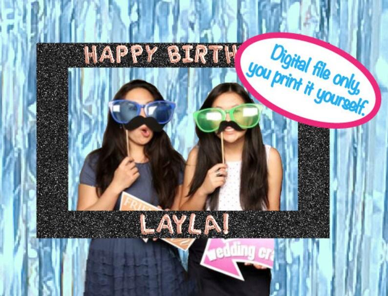 Print It Yourself Photo Prop, Mylar Balloon Birthday Party Photo Prop, 21st  Birthday, Photo Booth Frame, Bachelorette Party Photo Prop
