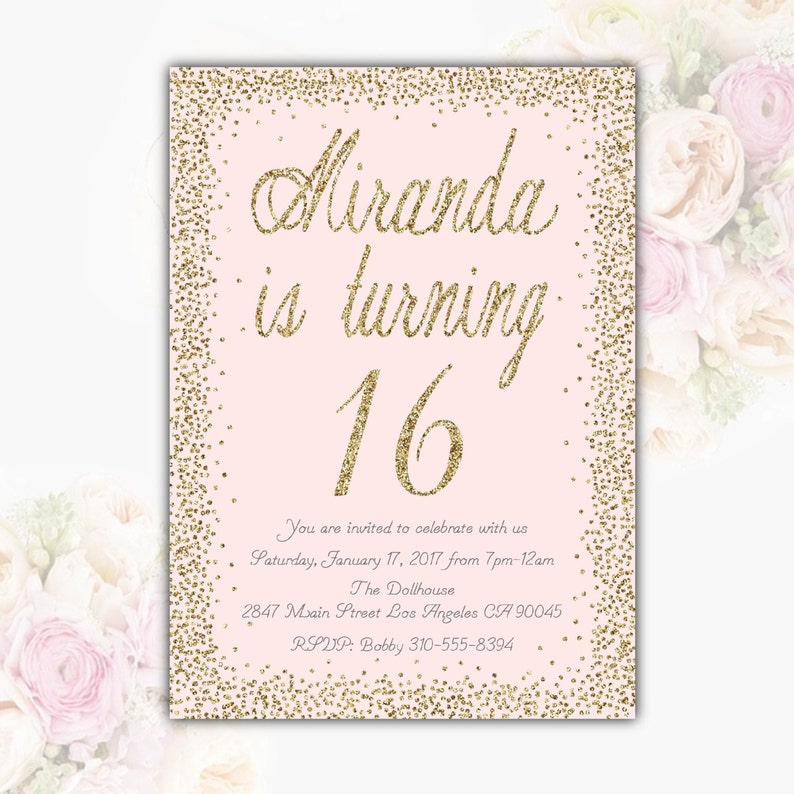 Pink Gold Glitter Birthday Party Invitation Teen