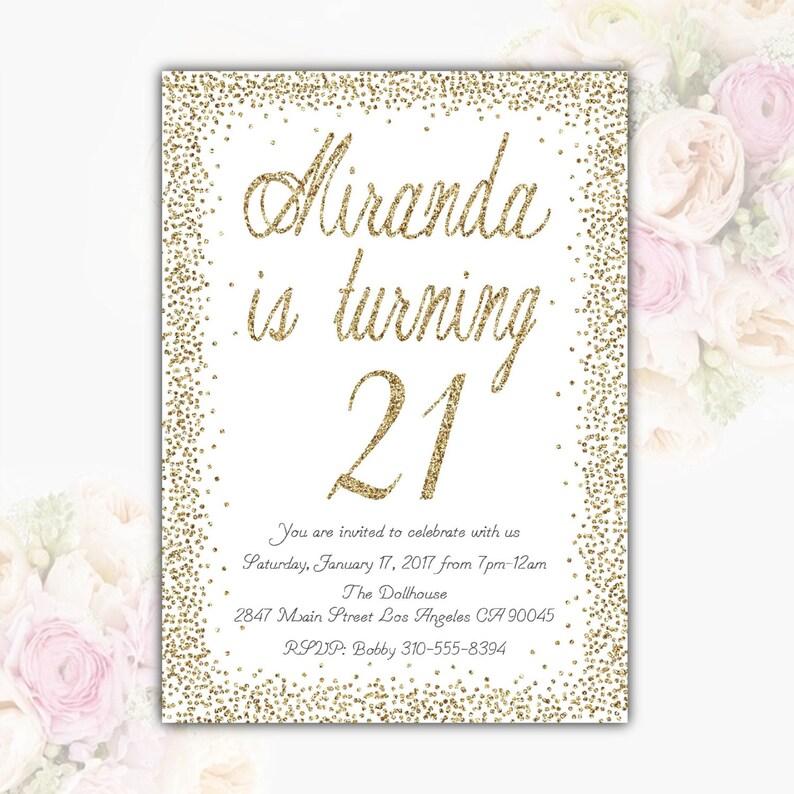 White Gold Glitter Birthday Party Invitation Teen