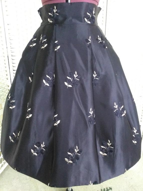 1950's Embroidered Black Heavy Satin Skirt