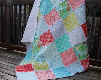 Pink Rag Quilt, Aqua, Mint, Yellow, Kate Spain, Feminine, Country Chic, Gift for daughter, mother, sister, girlfriend