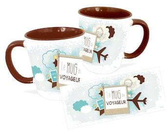 Travel Mug, Personalized Mug, Travelers Gift, Unique Coffee Mug, Ceramic Mug, Coffee Mug
