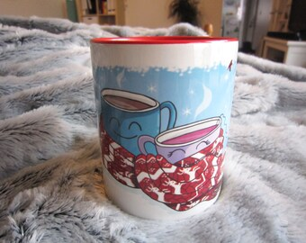Mug red winter, chocolate and tea couple gift love, Valentine's Day, Unique coffee mug, ceramic mug, coffee mug, mug cute