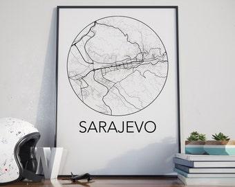 Sarajevo, Bosnia and Herzegovina Minimalist City Map Print