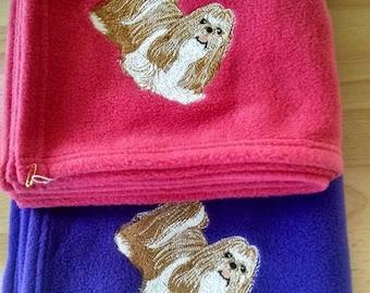 Embroidered Shih tzu Fleece Blanket