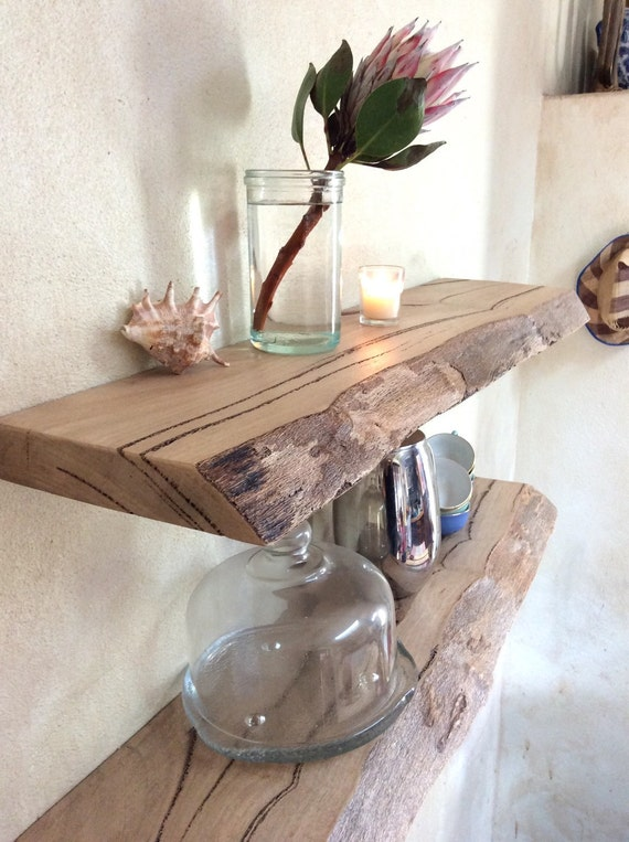 Schwimmende Holz Regal Aufbewahrung live Rand Marri