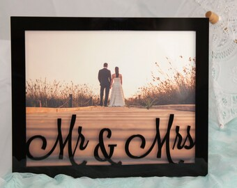 Personalised 8x10 Landscape Photo Frame Mirror Glitter Wood Finish. Wedding, Birthday, Mother's Day, Father's Day, Anniverary Present Gift