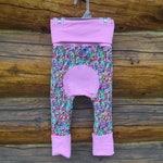 Maxaloones, miniloones, monsterloones, baby harem pants, baby pants, Sprinkles maxaloones with pink trim size 1, Borealis Britches