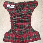 Cloth diaper cover, wipeable cloth diaper cover, Christmas diaper cover, one size cloth diaper cover, red plaid cloth diaper cover