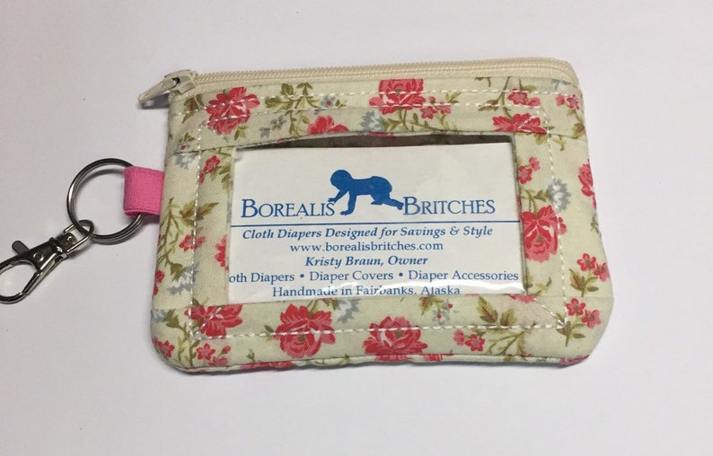 Roses ID wallet zipper wallet keychain wallet Borealis image 0