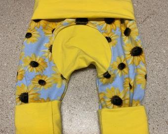 Maxaloones, grow with me pants, baby harem pants, Sunflower baby pants, maxaloones, Borealis Britches Light Yellow Trim