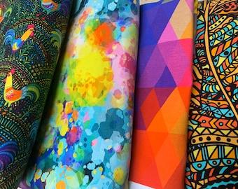Round One prints, Custom printed fabric, ready to ship, custom printed cotton knit, borealis britches, custom fabric