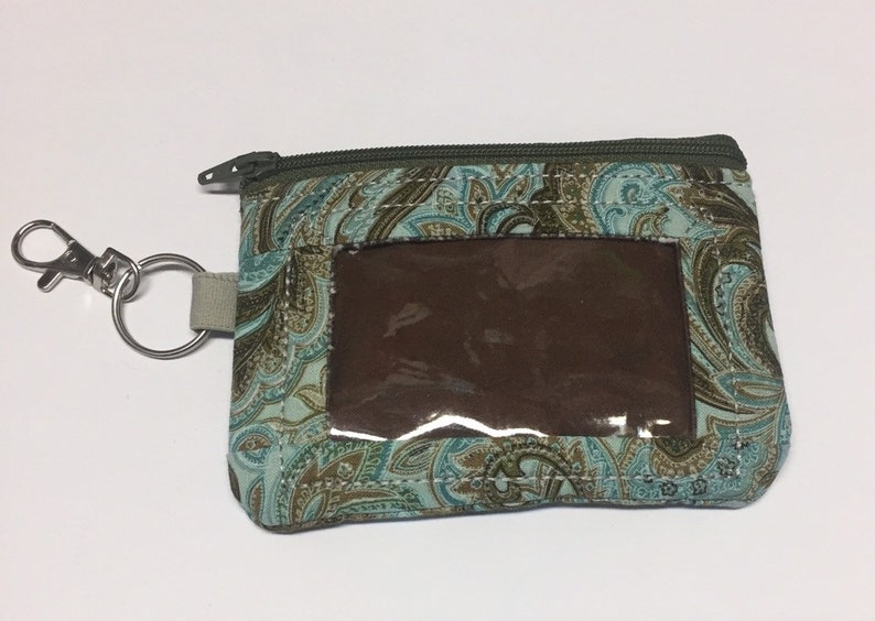 Teals and Browns paisley ID wallet zipper wallet keychain image 0