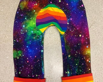 Maxaloones, baby pants, baby harem pants, Borealis Britches, miniloones, rainbow galaxy and rainbow stripes trim