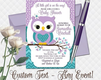Owl baby shower invitation etsy owl baby shower invitation purple teal turquoise birthday party invite for girl digital custom wording printable invite chevron polka dot filmwisefo