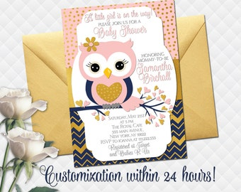 Owl baby shower invitation etsy owl baby shower invitation pink navy blue gold owl birthday party invite for baby girl digital custom wording printable chevron polka dot filmwisefo