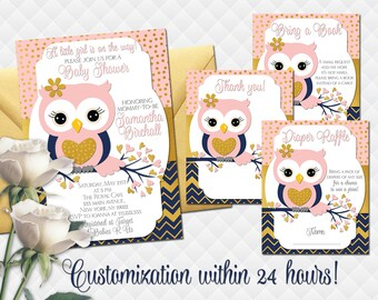 Owl baby shower invitation etsy owl baby shower invitation set for girl pink navy blue gold invite with inserts diaper raffle ticket bing a book thank you card printable filmwisefo