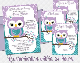 Owl baby shower etsy owl baby shower invitation set for girl purple teal turquoise invite with inserts diaper raffle ticket bing a book insert thank you card filmwisefo