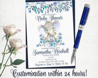 Elephant Baby shower invitation floral birthday party invite for boy custom printable invitation with navy blue white roses boho digital