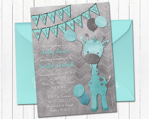 Girafe bébé invitation imprimable de douche anniversaire de garçon ...