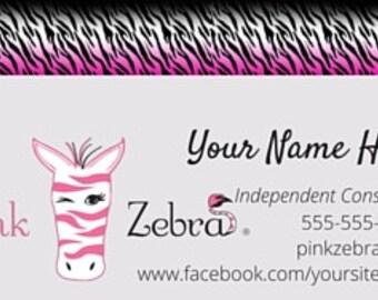 Zebra business card etsy pink zebra printed business cards two sided pink zebra printed cards pink zebra sprinkles card pink zebra business colourmoves