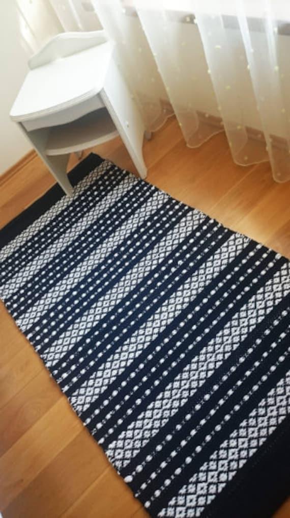 Scandinavian Striped Rug Navy Blue And White Floor Runner Etsy