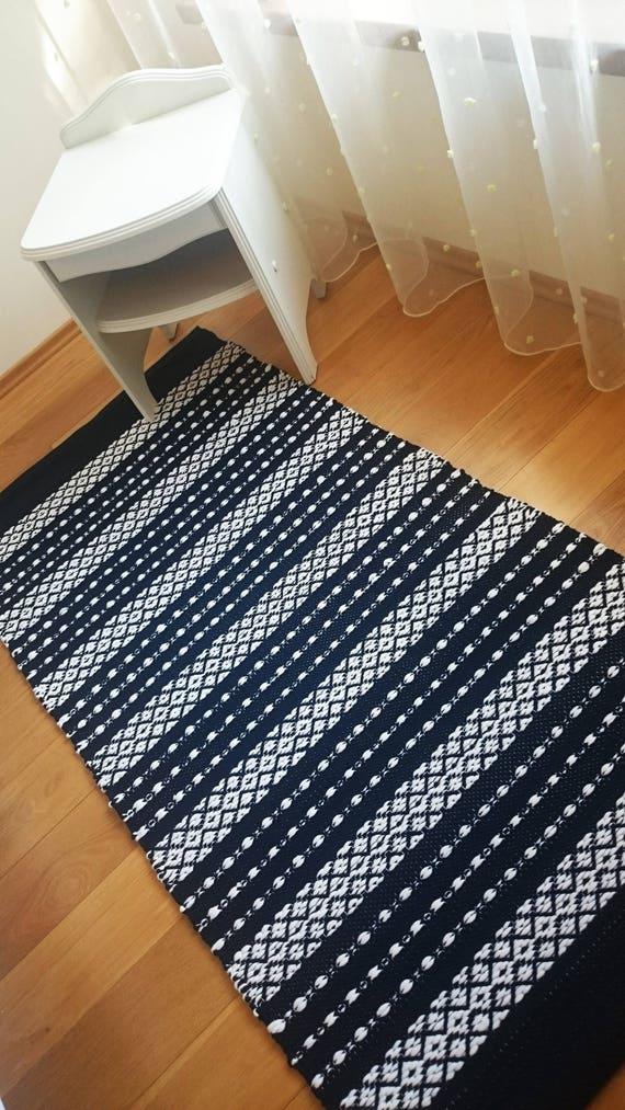 Scandinavian Striped Rug Navy Blue And White Floor Runner