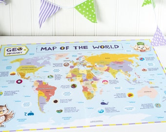 Learning school etsy uk kids world map world map for children colourful world map child friendly map kids map of the world kids maps maps for children gumiabroncs Images