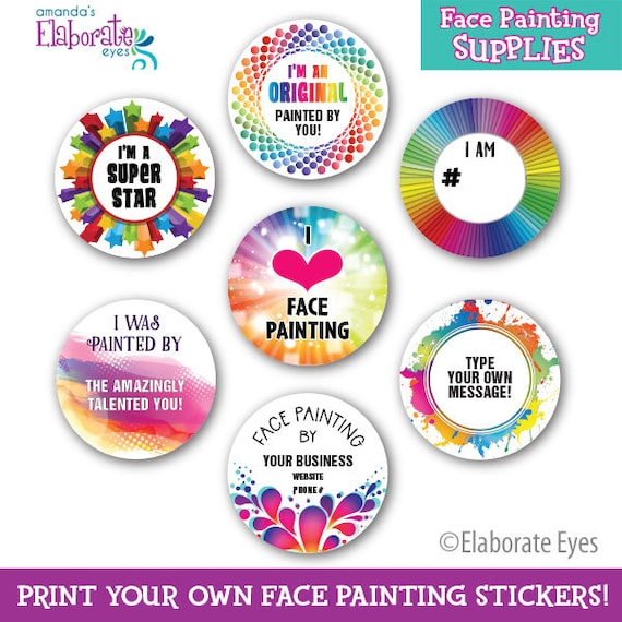 print your own stickers face painting sticker templates etsy