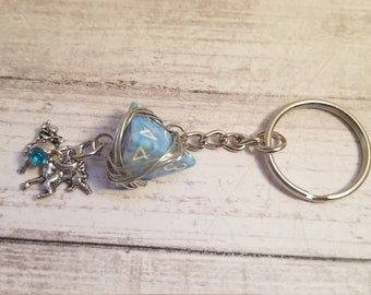 Blue Dungeons and Dragons and Pathfinder Dice keychain with Charm