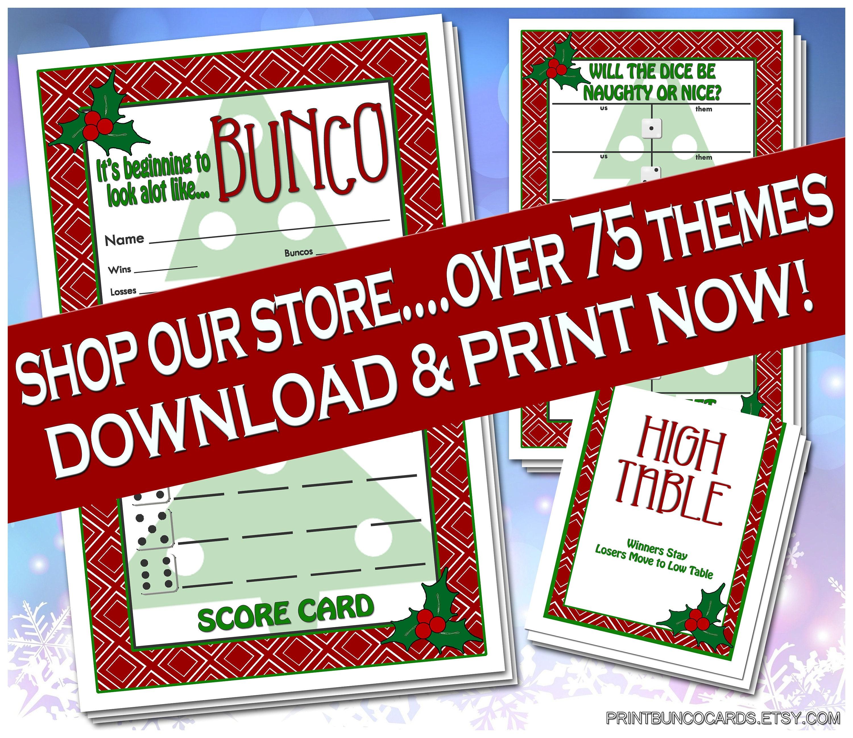 Printable Bunco Christmas Set Bunko Cards Printables Scorecard Etsy