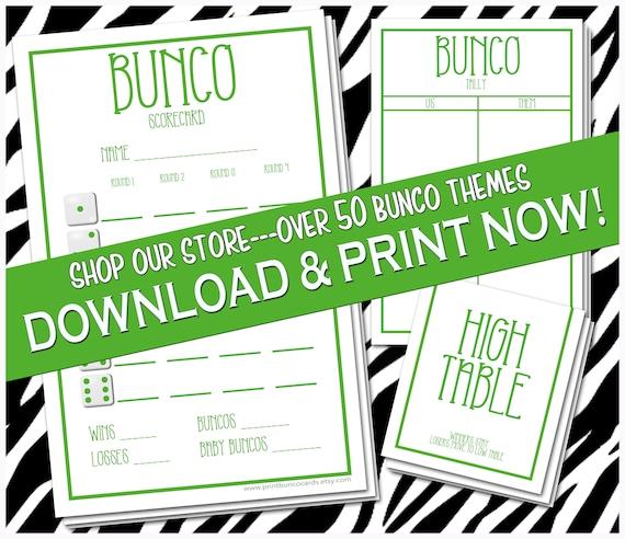 Printable Bunco Cards Bunko Scorecards Score Sheets Instant Download Complete Set