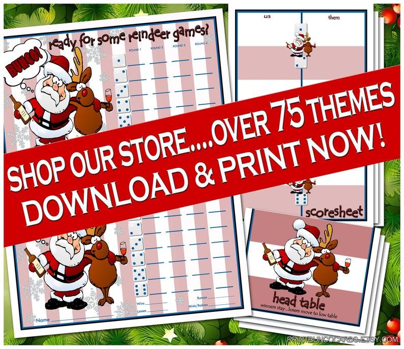 Reindeer Winter Complete Printable Bunco Set Christmas Bunko Free Minor Changes Download Now