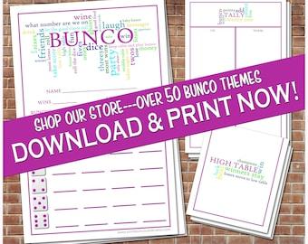 Printable Word Art Bunco Cards Bunko Scorecards Score Sheets Instant Download