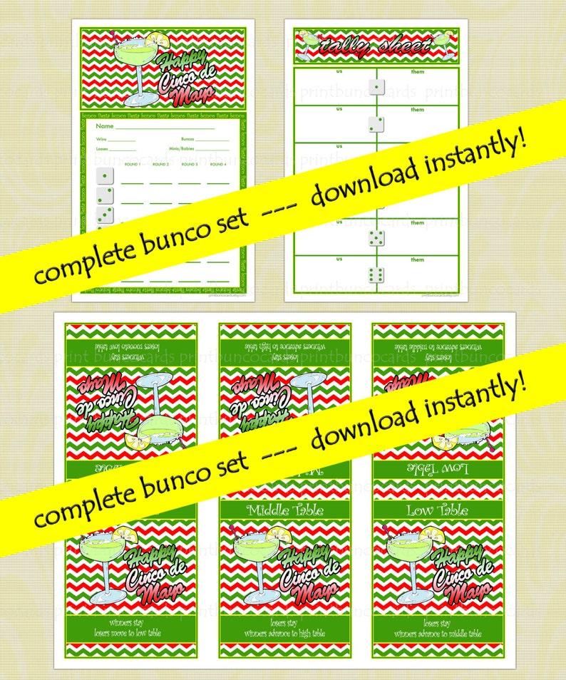 Printable Cinco de Mayo Custom Bunco Cards Set Bunko Scorecards Score Sheets Instant Download Free Minor Changes