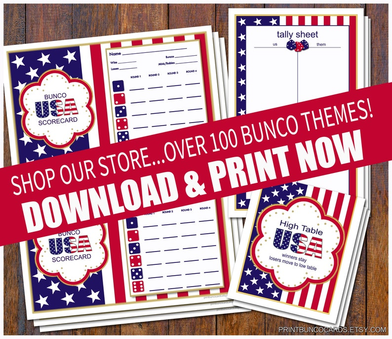 graphic about Free Printable Bunco Table Tally Sheets identified as Printable Bunco United states Patriotic Custom made Playing cards Bunko Scorecards Ranking Sheets Immediate Obtain