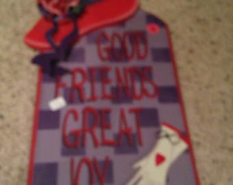 Vintage red and purple friends sign