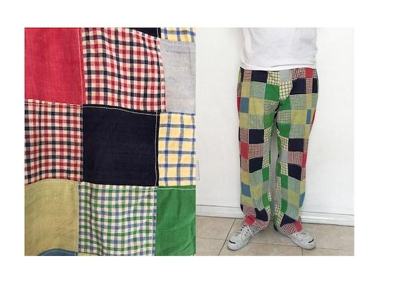 """Vintage 33"""" 70's  patchwork plaid trouser pants"""