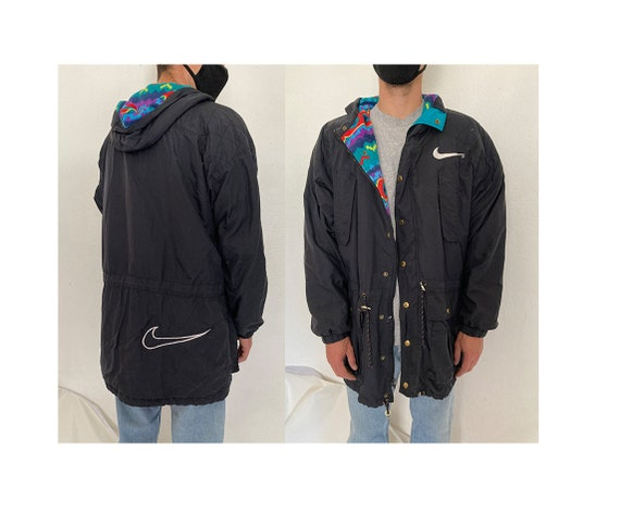 Vintage XL 90's NIKE zip up winter thick padded ho