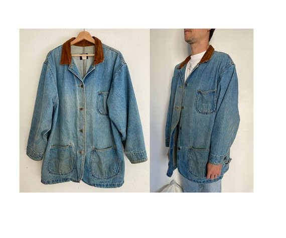Vintage 80's faded denim chore workwear jacket
